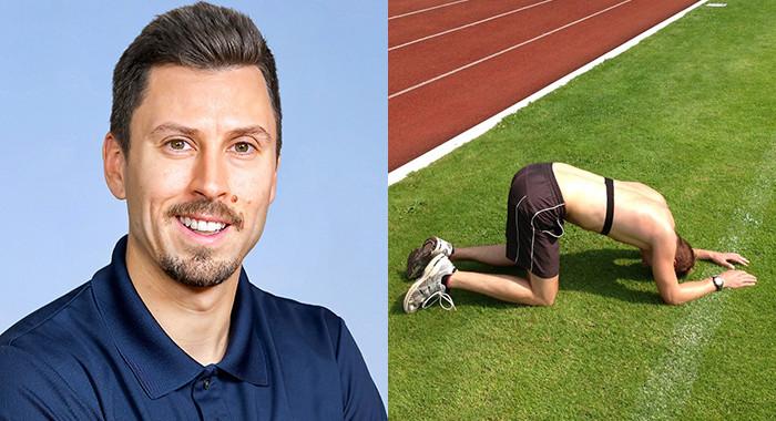 Collage: Prof. Wiewelhove, daneben Athlet der regeneriert