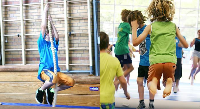 Spielende Kinder in einer Turnhalle