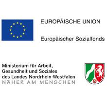 Embleme des Landes Nordrhein-Westfalen und der Europäischen Union